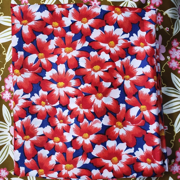 Vintage Blue Red Floral Acetate Fabric 2.5y